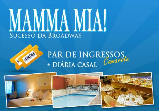 Ingressos para o Mamma Mia+ Hotel + Café para 2 Pessoas