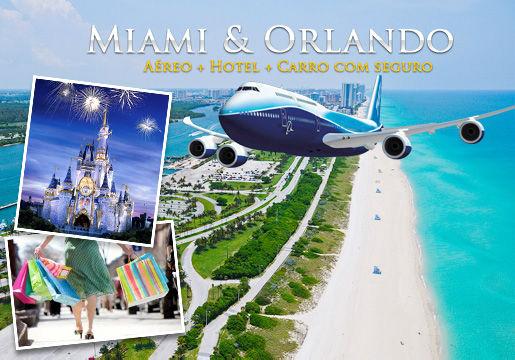 7 Noites em Miami e Orlando com Aéreo + Hotel + Carro