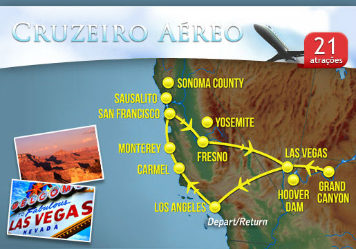 Cruzeiro Aéreo de Luxo pela Costa Oeste dos EUA
