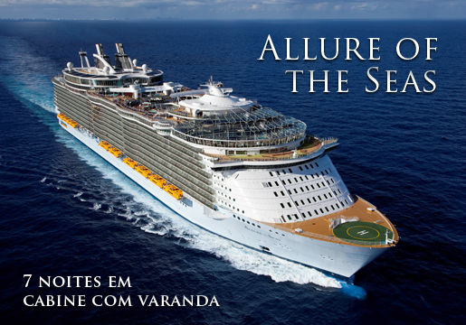 IMPRESSIONANTE: Allure of the Seas para 2 pessoas 50% OFF
