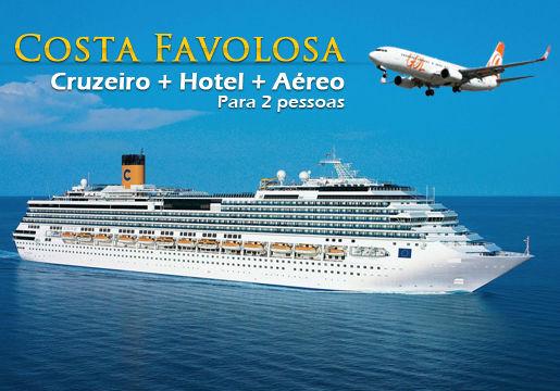 COSTA FAVOLOSA para 2: 6 noites c/ NAVIO + AÉREO + Hotel