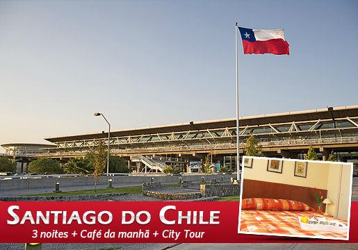 Pacote TERRESTRE p/ SANTIAGO: 3 Noites + Café + City Tour
