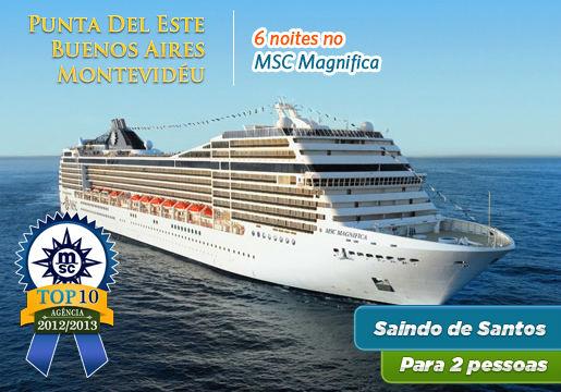 Cruzeiro MSC: CABINE c/ VARANDA p/ Buenos Aires e Punta