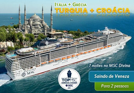 TURQUIA + CRÓACIA + GRÉCIA + ITÁLIA p/ 2 Pessoas 7 Noites