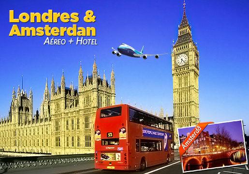 2 em 1 Pacote p/ Londres + Amsterdam: Aéreo + Hospedagem