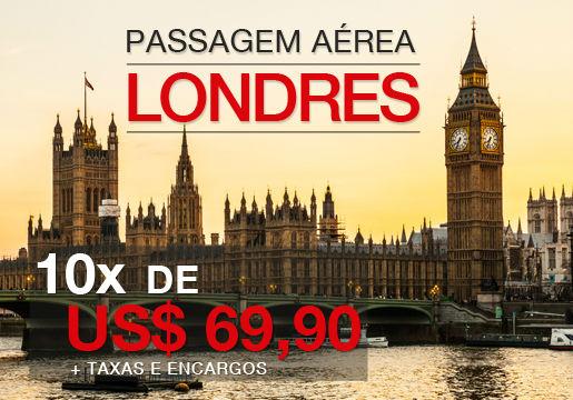 PASSAGEM para LONDRES por 10X de US$69,90 (R$162,51*)